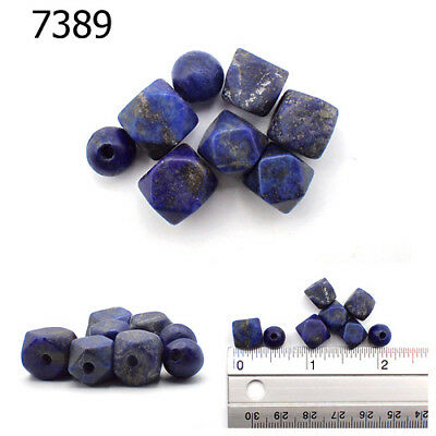 Lot 8 Ancient Style Lapis Lazuli w/Pyrite Carved Faceted Ball Bead  #7389