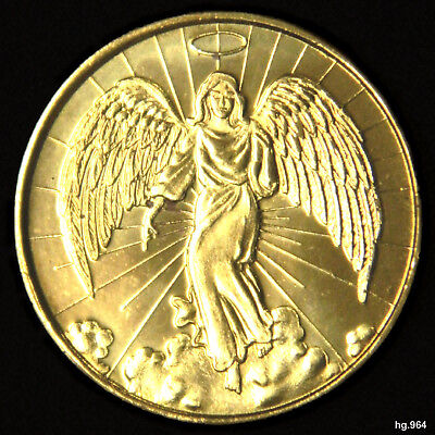 """""""angel Of God""""  -  Gold Plated Coin In Mint Condition,  -  Vatican, Italy."""