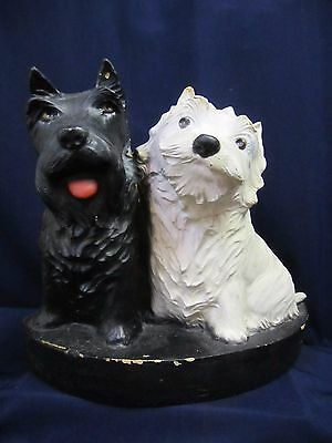 Vintage Black & White Scotch Scottys Fleischmann Display Piece Molded Resin