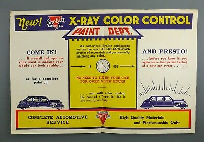 Vtg 1930s BROLITE SynFlex X-Ray Automotive Car Lacquer Paint Advertising Poster
