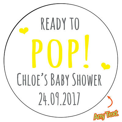 Personalised BABY SHOWER READY TO POP Stickers Bag VARIOUS DESIGNS MATT GLOSS