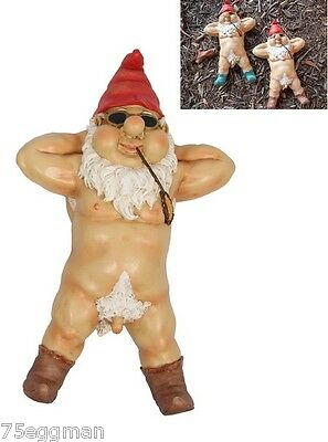Nude Garden Gnome With Red Shoes - Funny Rude Naked Garden Gnome Laying Back