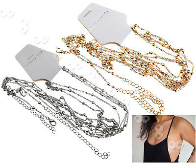Gold/Silver Tassel Bikini Harness Necklace Lady Crossover Belly Waist Body Chain