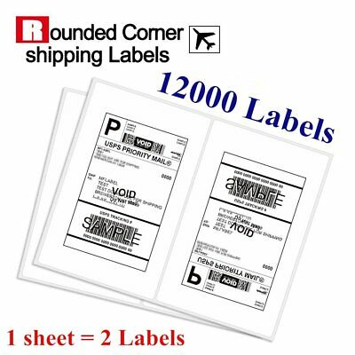 Rounded Corner 12000 Half Sheet 8.5x5.5 Shipping Labels Self Adhesive - USPS UPS