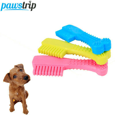Toothbrush Pet Dog Toy Cleaning Tooth Bite Resistant Safe Rubber Puppy Chew Play