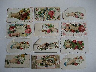 Lot of 12 Antique Victorian Calling Cards w/ Cutouts & Hidden Name