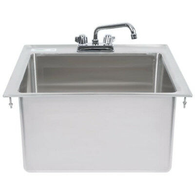 "One Compartment w FAUCET 20"" x 16"" x 12"" Stainless Steel Drop In Sink Commercial"