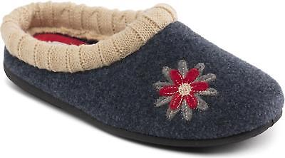 Padders FREESIA Ladies Womens Felt Warm Lined Extra Wide (2E/3E) Slippers Navy