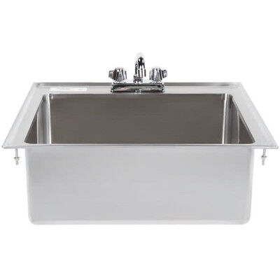 "One Compartment w FAUCET 20"" x 16"" x 8"" Stainless Steel Drop In Sink Commercial"