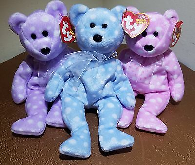 Ty ~ Beanie Babies ~ ( Set of 3 Bears ) BUBBLY, FIZZ & TOAST ~ NEW with Tags ~