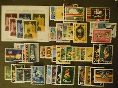 Ghana stamps 1959-1960, many in complete sets, all MNH - see photo for details