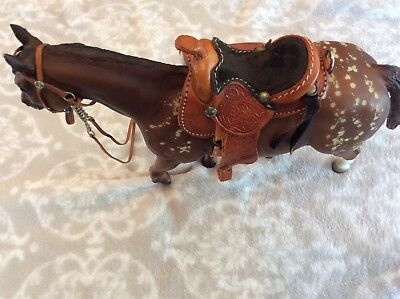 Vintage Unmarked Horse Molded Hard Plastic Toy WITH NICE LEATHER SADDLE