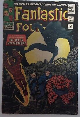 fantastic four 52 1st black panther nr silver key  low grade  movie lot 4 first