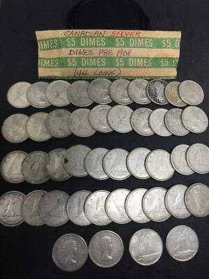Lot of 44 Used Canadian Dimes - 80% Silver