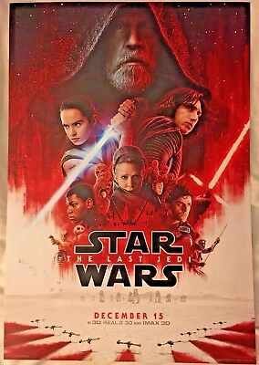 "STAR WARS THE LAST JEDI MOVIE POSTER 19""x11"" ORIGINAL - NOT A CHEAP REPRINT"