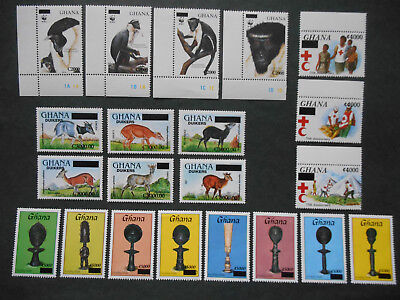 Ghana 2006 Surcharges 21 values (hard to find) incl. Diana Monkeys MNH see photo