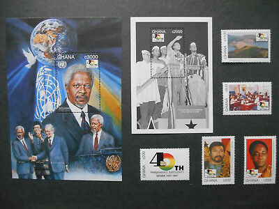 Ghana 40th Anniversary of Independence full set incl. scarce Rawlings stamp MNH