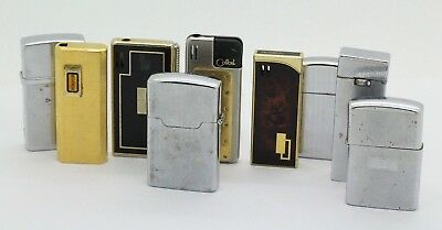 Estate Lot of 9 Vintage Japanese Silver & Gold Tobacco Lighters Ronson, Zippo