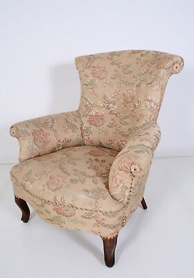 Antiker romantischer Boudoir Sessel Brokat floral um 1900 easy chair fauteil