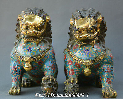 Collect China fengshui bronze Cloisonne Fu Dogs Lion Leo Beast lucky Statue Pair
