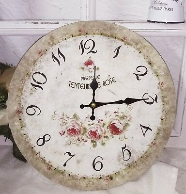 Clayre &eef Vintage Wall Clock Nostalgic Country Style Shabby Roses 11 3/8in
