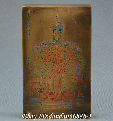 Collect Chinese old Bronze carve empress beautiful woman jewelry box gift box