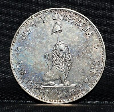 1889 Paraguay 1 Peso ✪ Au Almost Uncirculated ✪ Details Cleaned L@@k ◢Trusted◣
