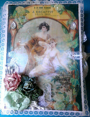 """NEW altered art mixed media vintage france 7"""" junk journal new year diary OOAK"""