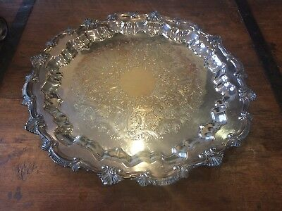 """17"""" Footed Silverplate Serving Tray, Chippendale by W & S BLACKINTON CO #1459"""