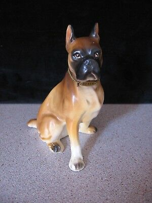 Vintage Porcelain Sitting Boxer Dog Figurine  with Metal Tag - Japan