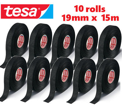 10 x TESA TAPE 19mm x 15m CABLE ADHESIVE CLOTH FABRIC WIRING LOOM HARNESS 51608