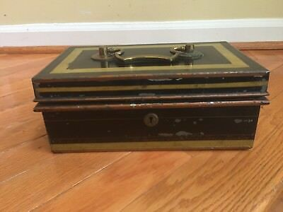 Edwardian Japanned Metal & Brass Cash Box by Chubb & Sons Antique England