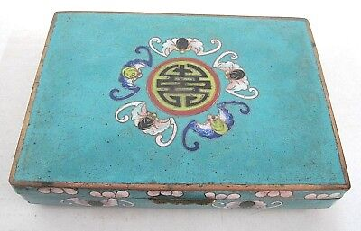 Vintage Chinese Cloisonne Enamel Divided Box Red Eyed Bats & Chinese Symbol Nice