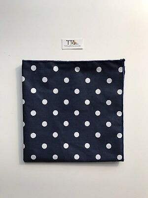 Navy Blue And White Polka Dot Pocket Square with Navy Blue Trim