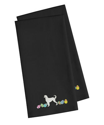 Afghan Hound Easter Black Embroidered Kitchen Towel Set of 2