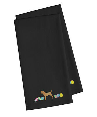 Border Terrier Easter Black Embroidered Kitchen Towel Set of 2