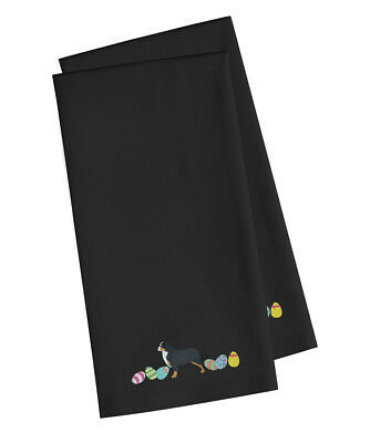 Bernese Mountain Dog Easter Black Embroidered Kitchen Towel Set of 2