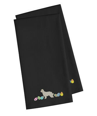 Great Pyrenees Easter Black Embroidered Kitchen Towel Set of 2