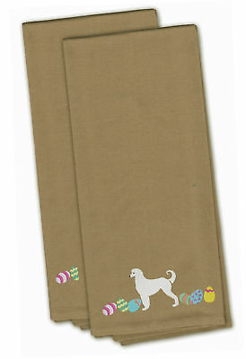 Afghan Hound Easter Tan Embroidered Kitchen Towel Set of 2
