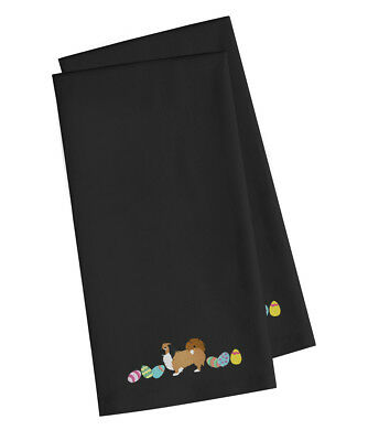 Pekingese Easter Black Embroidered Kitchen Towel Set of 2
