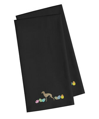Italian Greyhound Easter Black Embroidered Kitchen Towel Set of 2