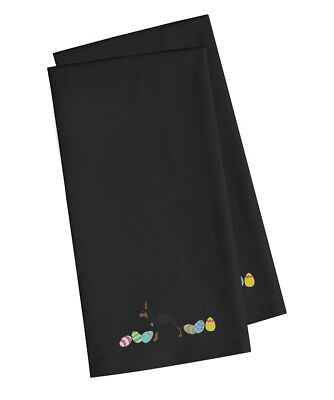 Toy Fox Terrier Easter Black Embroidered Kitchen Towel Set of 2