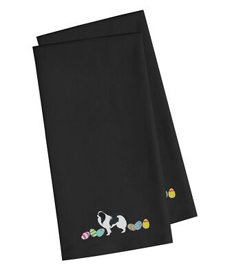 Japanese Chin Easter Black Embroidered Kitchen Towel Set of 2