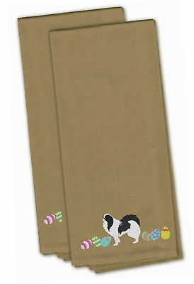 Japanese Chin Easter Tan Embroidered Kitchen Towel Set of 2