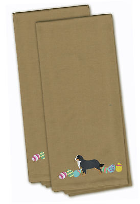 Bernese Mountain Dog Easter Tan Embroidered Kitchen Towel Set of 2