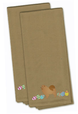 Chow Chow Easter Tan Embroidered Kitchen Towel Set of 2