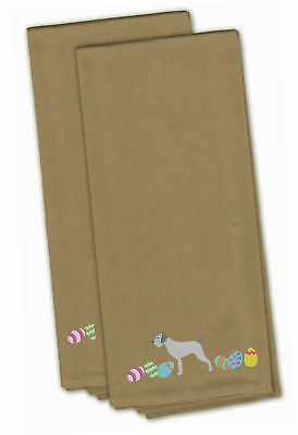 German Wirehaired Pointer Easter Tan Embroidered Kitchen Towel Set of 2
