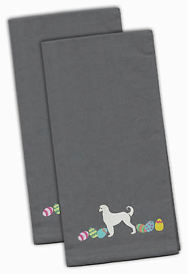 Afghan Hound Easter Gray Embroidered Kitchen Towel Set of 2