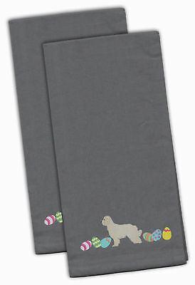 Great Pyrenees Easter Gray Embroidered Kitchen Towel Set of 2