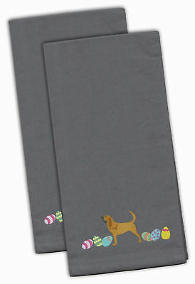 Bloodhound Easter Gray Embroidered Kitchen Towel Set of 2
